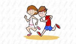 running couple cartoon